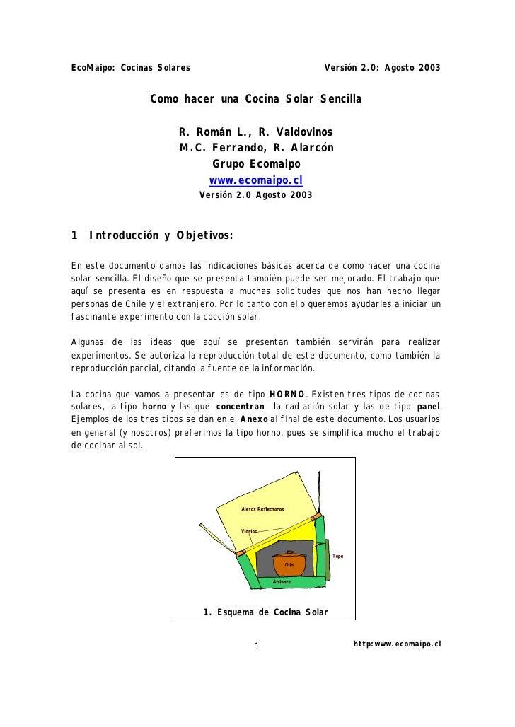 EcoMaipo: Cocinas Solares                                   Versión 2.0: Agosto 2003                  Como hacer una Cocin...