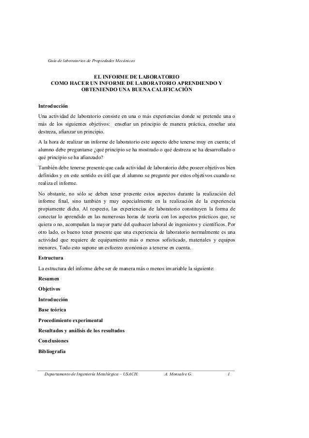 Guía de laboratorios de Propiedades Mecánicas                 EL INFORME DE LABORATORIO     COMO HACER UN INFORME DE LABOR...