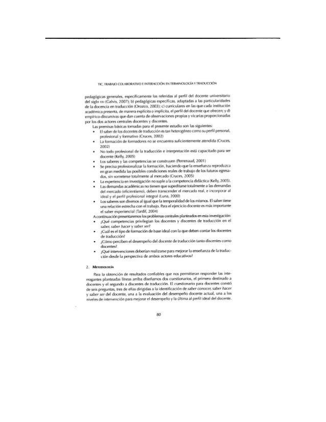 TIC,  TRABAJO COLABORATIVO F INTERACCION EN TERMINOLOGÍA Y TRADUCClÓN  pedagógicas generales,  especificamente las referid...