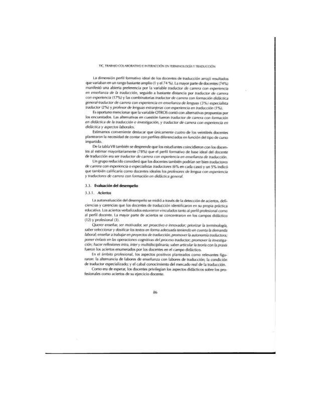 TIC,  TRABAJO COLABORATIVO E INTERACCIÓN EN TERMINOLOGÍAY TRADUCCIÓN  La dimensión perfil formativo ideal de los docentes ...