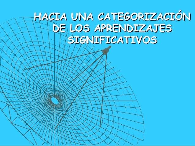 HACIA UNA CATEGORIZACIÓNHACIA UNA CATEGORIZACIÓN DE LOS APRENDIZAJESDE LOS APRENDIZAJES SIGNIFICATIVOSSIGNIFICATIVOS