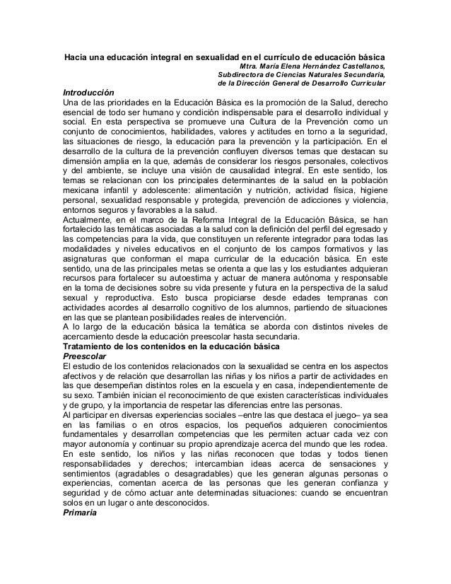 Hacia una educación integral en sexualidad en el currículo de educación básica Mtra. María Elena Hernández Castellanos, Su...