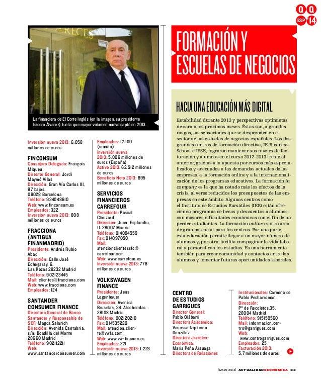 [MAYO 2014] ACTUALIDADECONÓMICA 83 Inversión nueva 2013: 6.058 millones de euros FINCONSUM Consejero Delegado: François Mi...