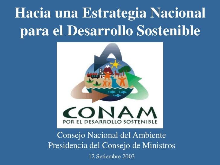 Hacia una Estrategia Nacionalpara el Desarrollo Sostenible       Consejo Nacional del Ambiente     Presidencia del Consejo...