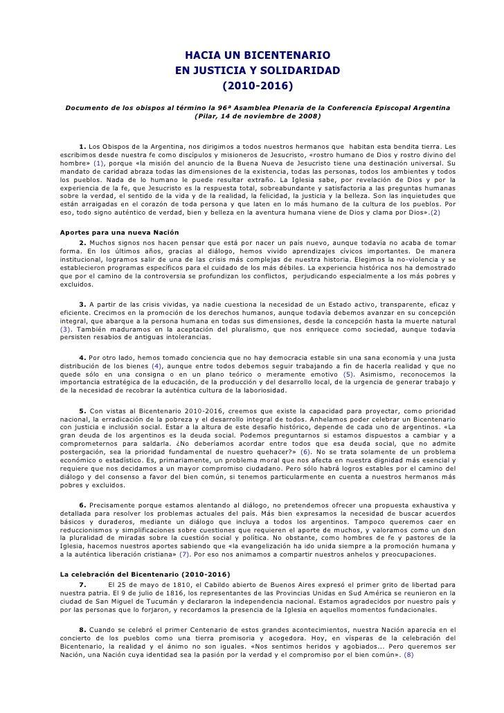HACIA UN BICENTENARIO                                   EN JUSTICIA Y SOLIDARIDAD                                         ...