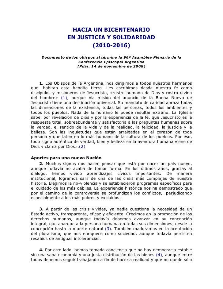 HACIA UN BICENTENARIO                  EN JUSTICIA Y SOLIDARIDAD                         (2010-2016)     Documento de los ...