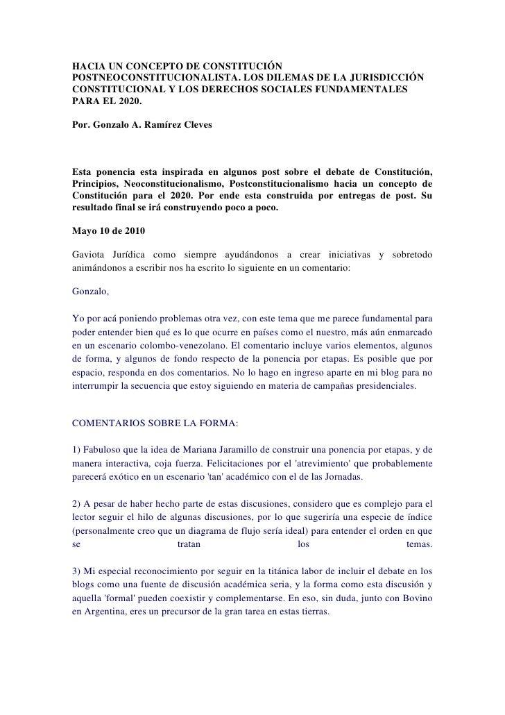 HACIA UN CONCEPTO DE CONSTITUCIÓN POSTNEOCONSTITUCIONALISTA. LOS DILEMAS DE LA JURISDICCIÓN CONSTITUCIONAL Y LOS DERECHOS ...
