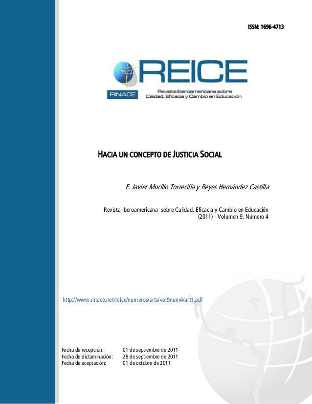 HACIA UN CONCEPTO DE JUSTICIA SOCIAL  F. Javier Murillo Torrecilla y Reyes Hernández Castilla  Revista Iberoamericana sobr...