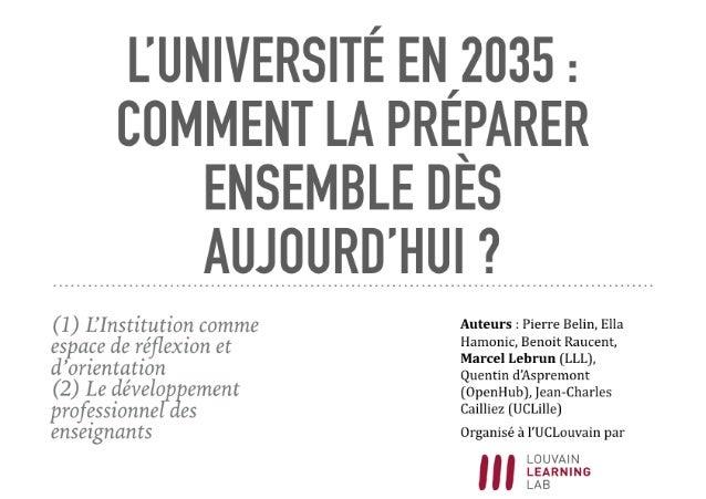 Que sera l'Université en 2035 ? Un Hack'apprendre réalisé par le LLL