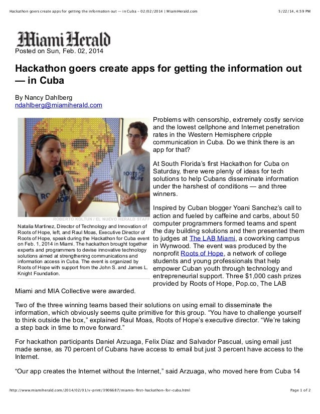 5/22/14, 4:59 PMHackathon goers create apps for getting the information out — in Cuba - 02/02/2014 | MiamiHerald.com Page ...