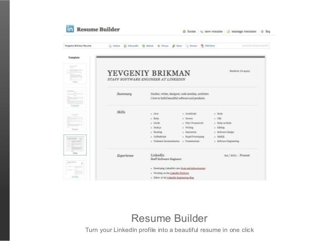Resume BuilderTurn Your LinkedIn Profile