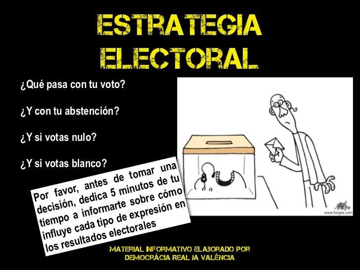 Estrategia                    electoral¿Qué pasa con tu voto?¿Y con tu abstención?¿Y si votas nulo?¿Y si votas blanco?    ...