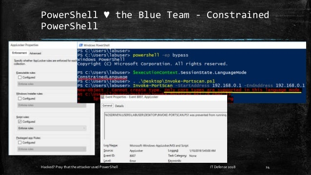 PowerShell ♥ the Blue Team - Constrained PowerShell Hacked? Pray that the attacker used PowerShell 24IT Defense 2018