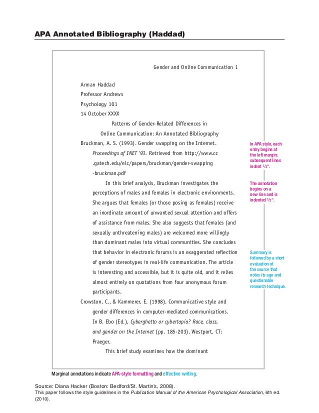 annotated bibliography in apa style Apa citation guide: annotated bibliographies learn the intricacies of apa citation style apa is the citation style used by the health professions, sciences, and social sciences.