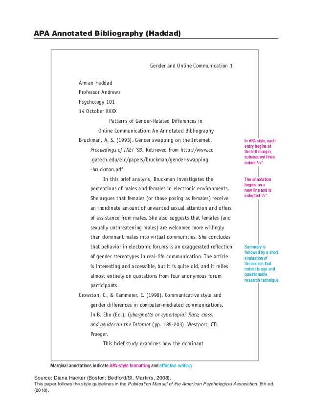 APA Annotated Bibliography (Haddad) Source: Diana Hacker (Boston:  Bedford/St ...