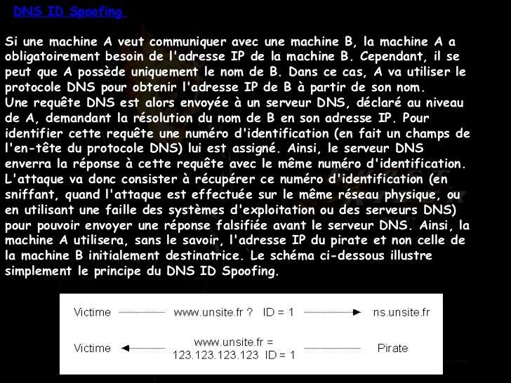 DNS ID Spoofing  Si une machine A veut communiquer avec une machine B, la machine A a obligatoirement besoin de l'adresse ...