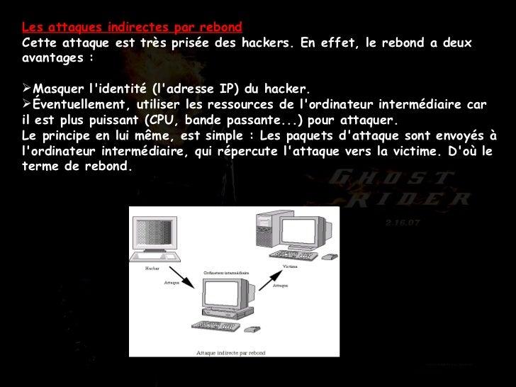 <ul><li>Les attaques indirectes par rebond Cette attaque est très prisée des hackers. En effet, le rebond a deux avantages...