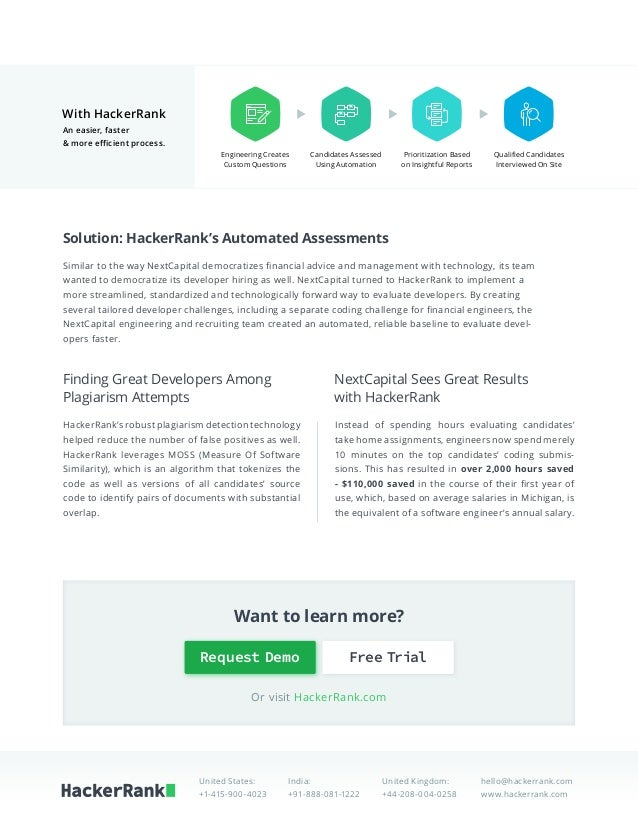 HackerRank | NextCapital Case Study