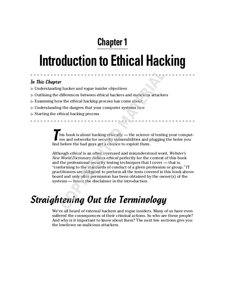 Chapter 1    Introduction to Ethical Hacking                                                              ALIn This Chapte...