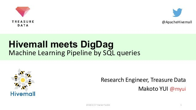 Hivemall meets DigDag Machine Learning Pipeline by SQL queries Research Engineer, Treasure Data Makoto YUI @myui @ApacheHi...