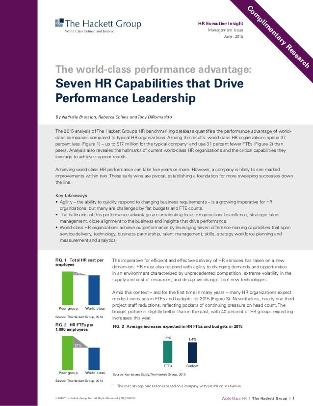 World-Class HR I The Hackett Group I 1© 2015 The Hackett Group, Inc.; All Rights Reserved. | CR_2000183 The imperative for...