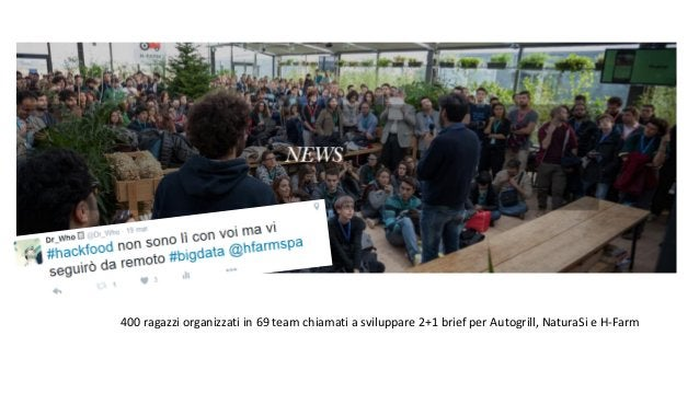 400 ragazzi organizzati in 69 team chiamati a sviluppare 2+1 brief per Autogrill, NaturaSi e H-Farm