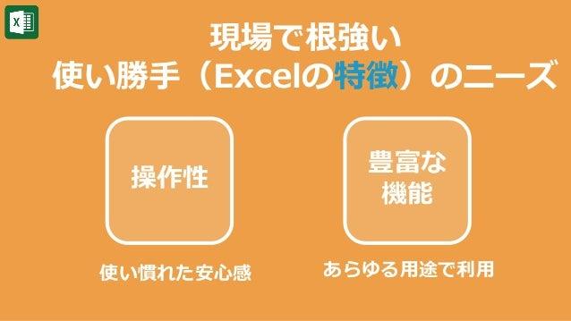 豊富な 機能 現場で根強い 使い勝手(Excelの特徴)のニーズ 操作性 使い慣れた安心感 あらゆる用途で利用