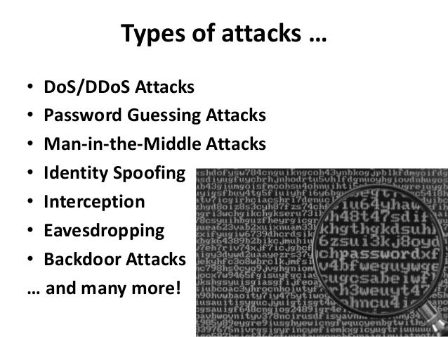 Types of attacks …• DoS/DDoS Attacks• Password Guessing Attacks• Man-in-the-Middle Attacks• Identity Spoofing• Interceptio...