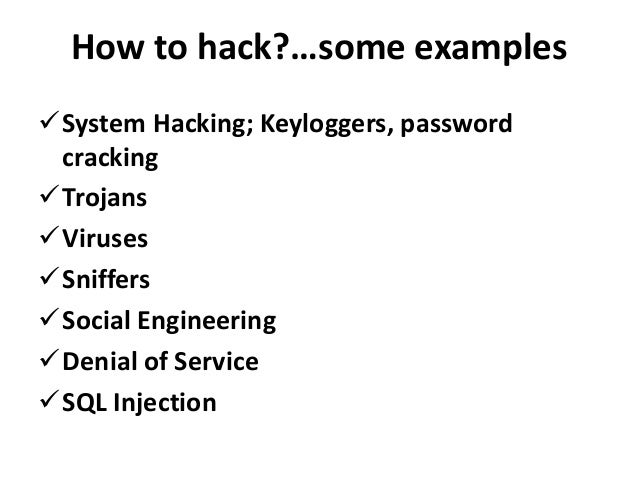 examples of hacking and cracking