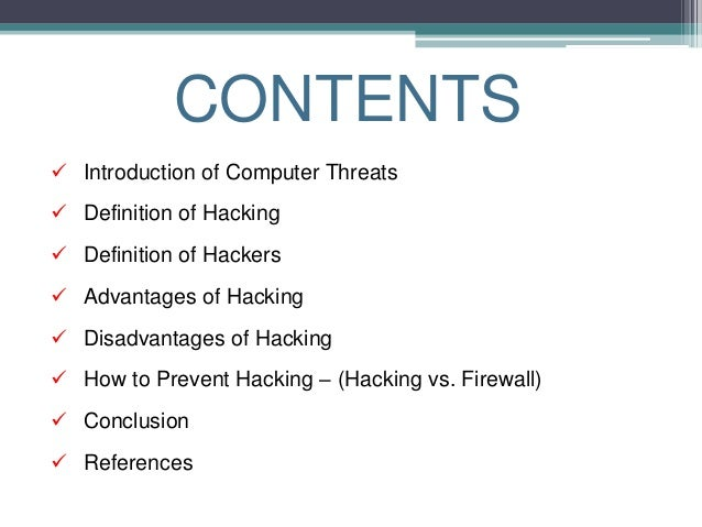 an introduction to the importance of computer hacker An unprotected computer is like an open door for computer hackers and predators to take it a step further, protect your computer from hackers by using a spam filter.