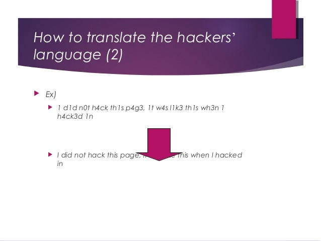 How to translate the hackers' language (2)  Ex)  1 d1d n0t h4ck th1s p4g3, 1t w4s l1k3 th1s wh3n 1 h4ck3d 1n  I did not...