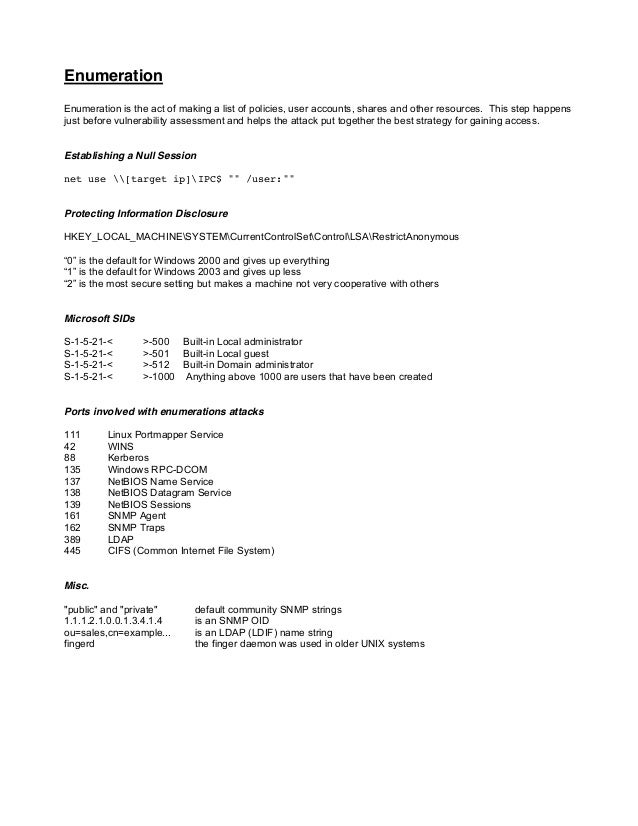 Hacking CEH cheat sheet