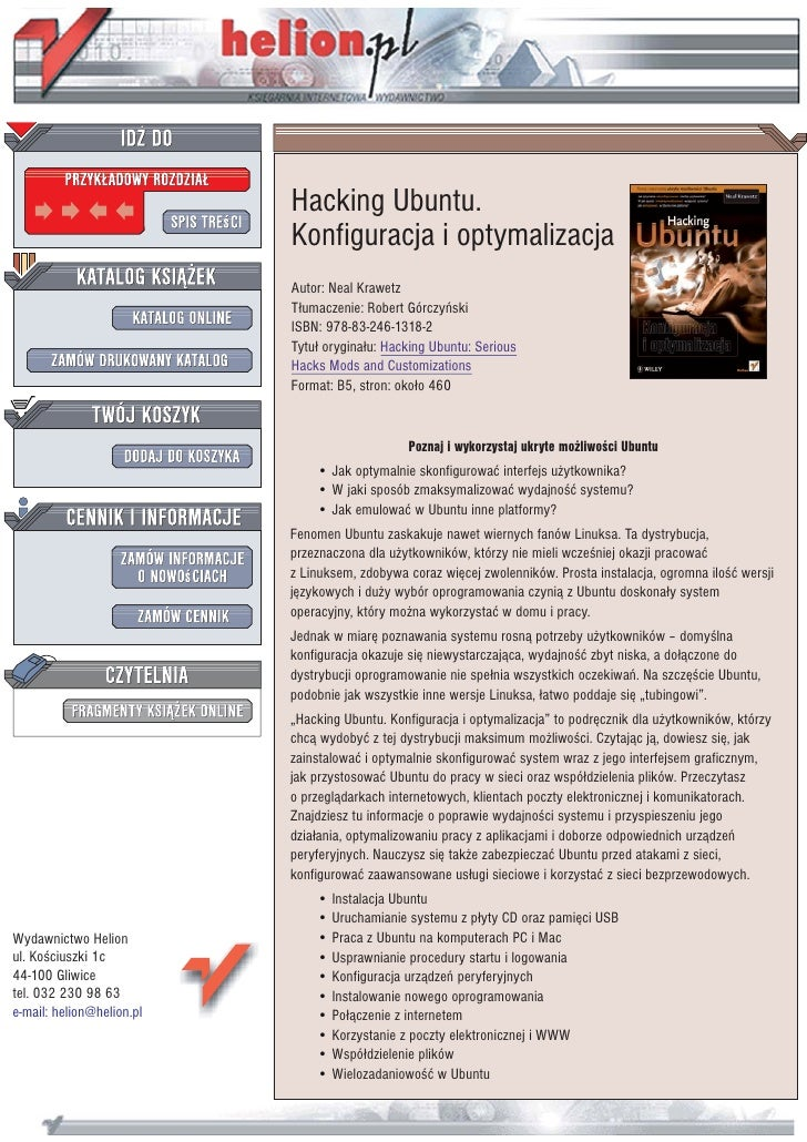 Hacking Ubuntu.                            Konfiguracja i optymalizacja                            Autor: Neal Krawetz    ...