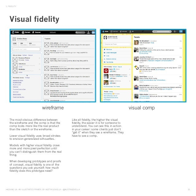 HAckinG UX: An illUstrAted primer, by AUstin GovellA – @AUstinGovellA 21 1. Fidelity the most obvious difference between t...