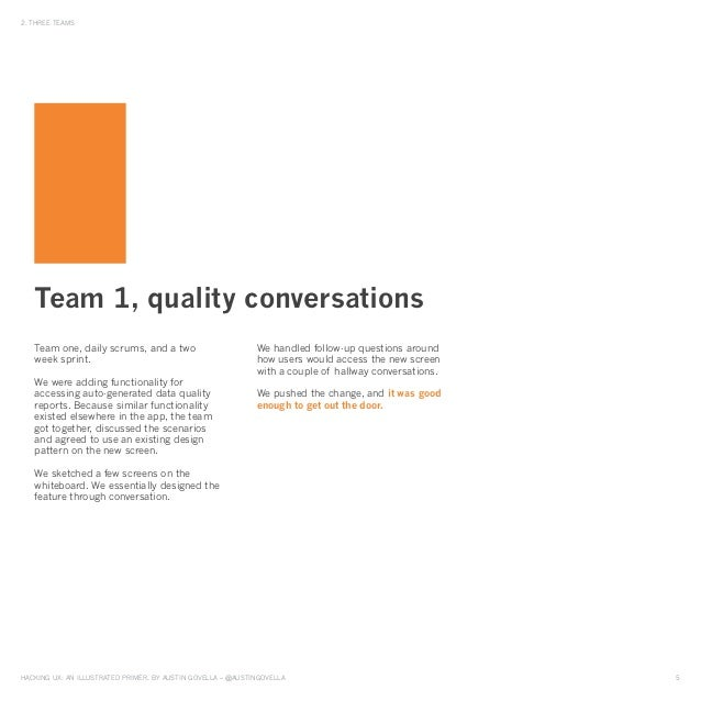 HAckinG UX: An illUstrAted primer, by AUstin GovellA – @AUstinGovellA 5 2. tHree teAms team one, daily scrums, and a two w...