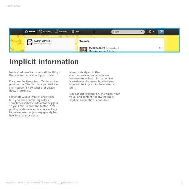 HAckinG UX: An illUstrAted primer, by AUstin GovellA – @AUstinGovellA 51 1. inFormAtion implicit information covers all th...