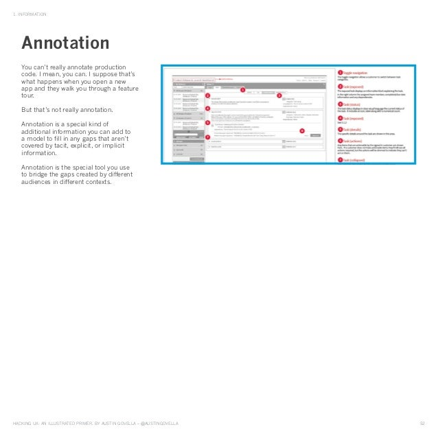 HAckinG UX: An illUstrAted primer, by AUstin GovellA – @AUstinGovellA 52 1. inFormAtion you can't really annotate producti...