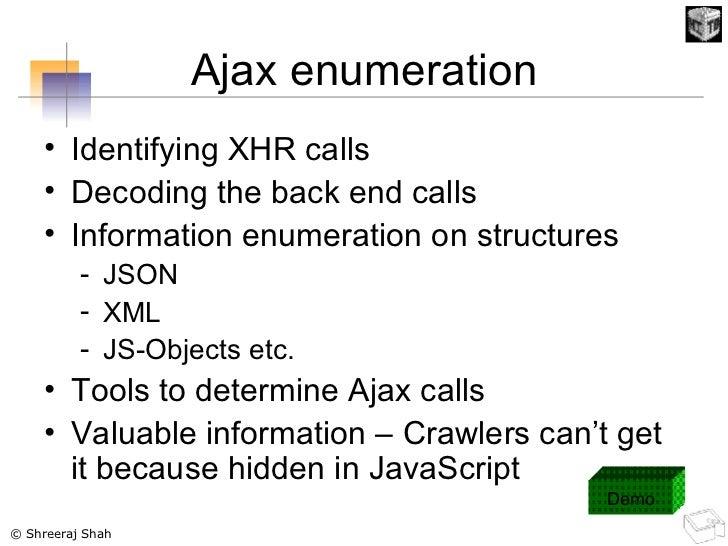 Ajax enumeration <ul><li>Identifying XHR calls </li></ul><ul><li>Decoding the back end calls </li></ul><ul><li>Information...