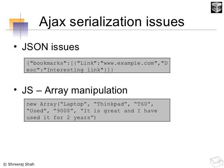 Ajax serialization issues <ul><li>JSON issues </li></ul><ul><li>JS – Array manipulation </li></ul>{&quot;bookmarks&quot;:[...