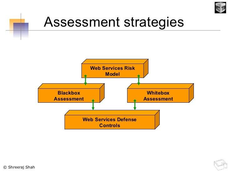 Assessment strategies Web Services Risk Model Web Services Defense Controls Blackbox Assessment Whitebox Assessment