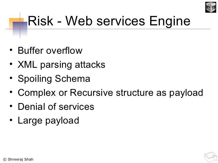 Risk - Web services Engine <ul><li>Buffer overflow </li></ul><ul><li>XML parsing attacks </li></ul><ul><li>Spoiling Schema...