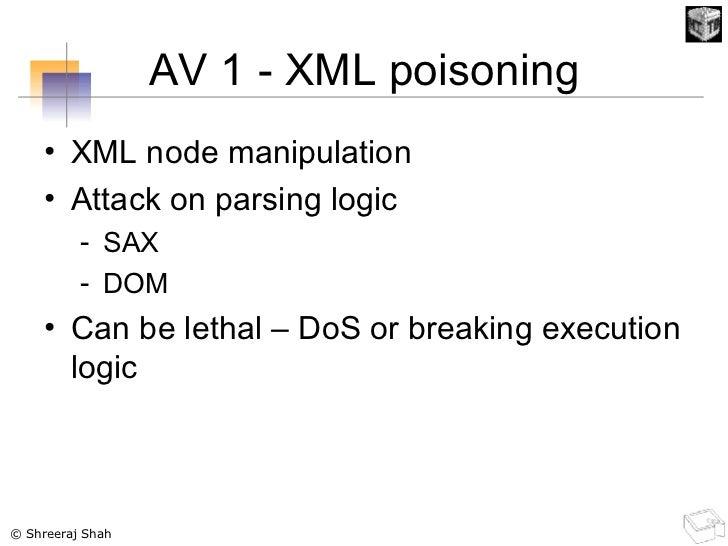 AV 1 - XML poisoning <ul><li>XML node manipulation </li></ul><ul><li>Attack on parsing logic </li></ul><ul><ul><li>SAX </l...