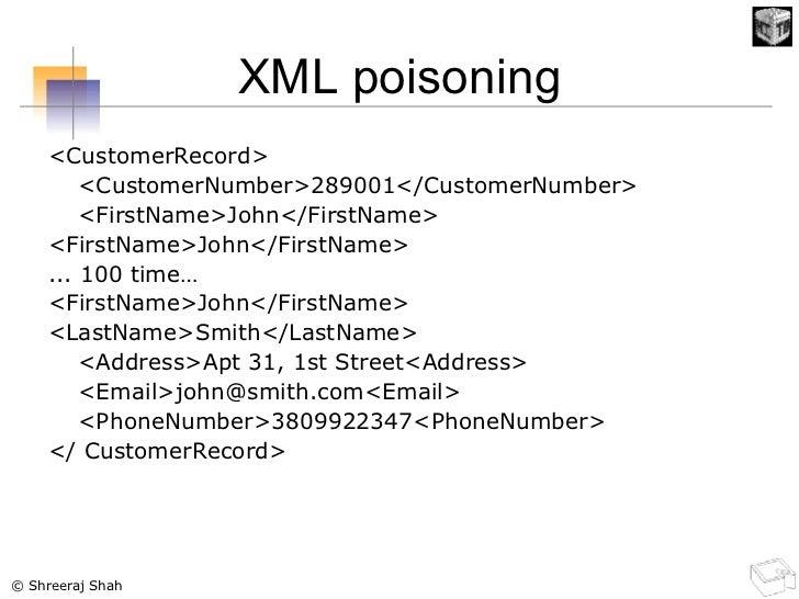 XML poisoning <ul><li><CustomerRecord> </li></ul><ul><li><CustomerNumber>289001</CustomerNumber> </li></ul><ul><li><FirstN...