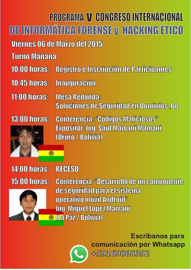 Quinto congreso internacional de informatica forense y for Ing mesa y lopez