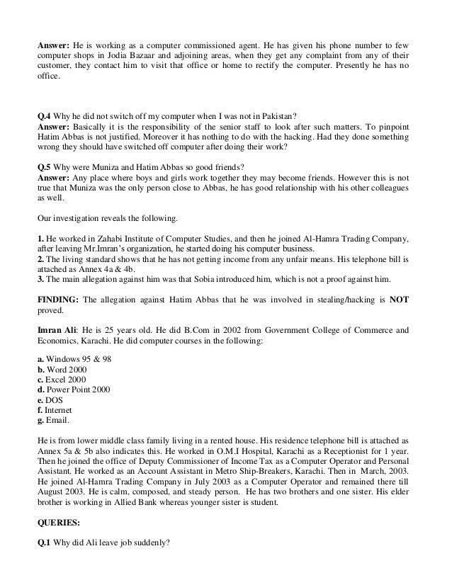 Hacking case report al hamra trading company