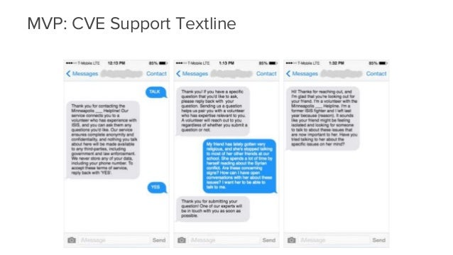 A support textline for friends and family MVP: CVE Support Textline