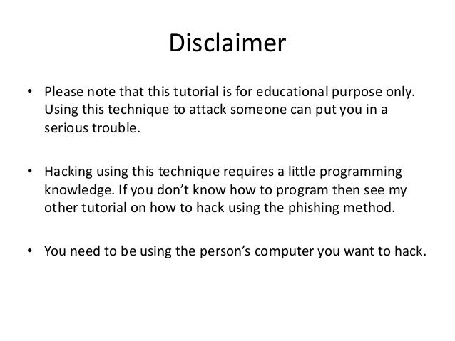Hacking with a keylogger. Slide 2