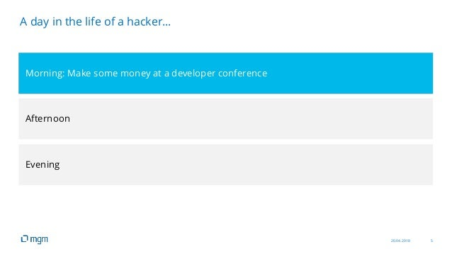 20.04.2018 5 A day in the life of a hacker… Morning: Make some money at a developer conference Afternoon Evening