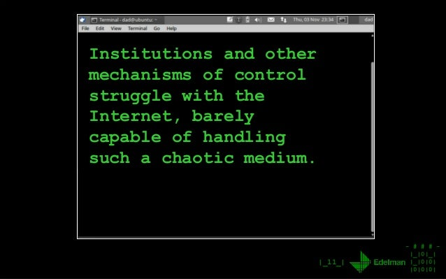 - # # # - |_|0|_| |_|0|0| |0|0|0| |_11_| Institutions and other mechanisms of control struggle with the Internet, barely c...