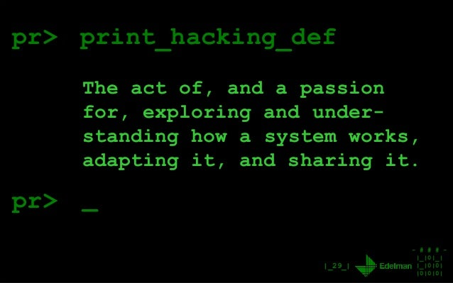 - # # # - |_|0|_| |_|0|0| |0|0|0| |_29_| pr> print_hacking_def The act of, and a passion for, exploring and under- standin...